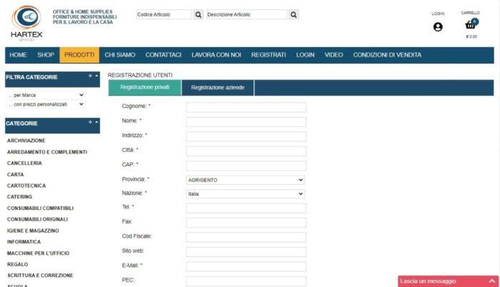 Hartex form registrazione